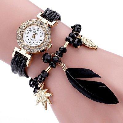 Leuke horloge dubbele armband veer met kralen zwarte kleur