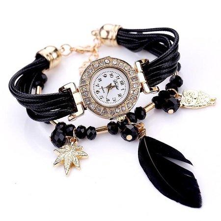 Leuke horloge dubbele armband hangertjes veer met kralen in zwart kleur