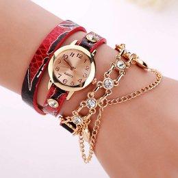 Dubbele armband horloge rood met fleurige kleuren