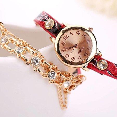 Dubbele armband horloge rood met fleurige kleuren en kristalen
