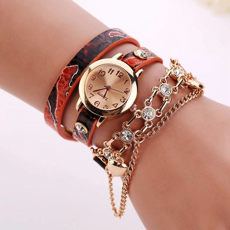 Dubbele armband horloge oranje met fleurige kleuren en kristalen
