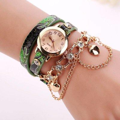 Dubbele armband horloge groen met fleurige kleuren