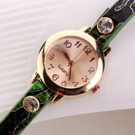 Dubbele armband horloge groen met fleurige kleuren en kristalen
