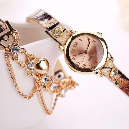 Dubbele armband horloge beige met fleurige kleuren en kristalen