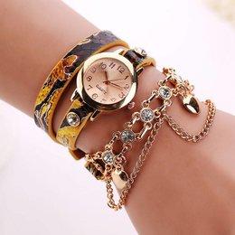 Dubbele armband horloge geel met fleurige kleuren