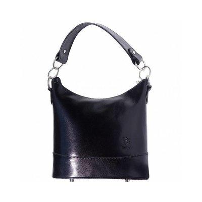 Emmer model schoudertas gemaakt van hard kalfsleer zwart kleur