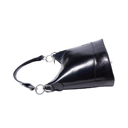 Emmer model schoudertas gemaakt van hard kalfsleer zwarte kleur