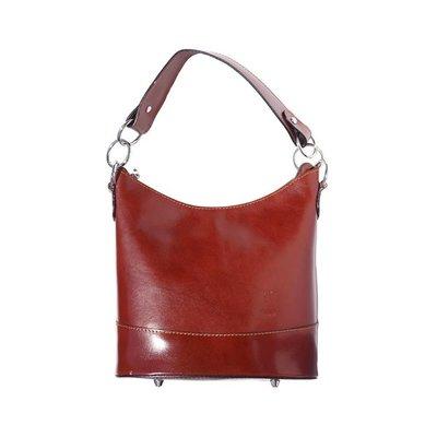 Emmer model schoudertas gemaakt van hard kalfsleer bruin kleur