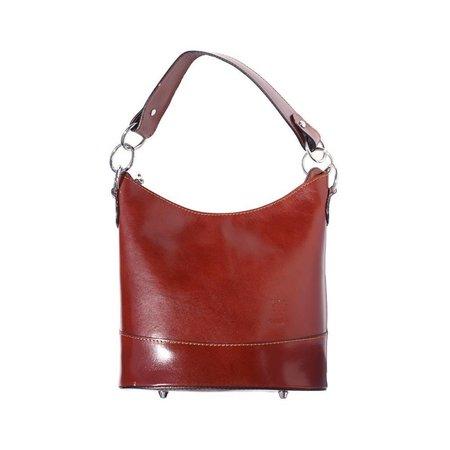 Emmer model schoudertas gemaakt van hard kalfsleer bruine kleur