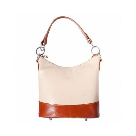 Emmer model schoudertas gemaakt van hard kalfsleer beige cognac kleur