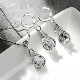 Elegante eenvoudige druppel oorbellen ketting sterling zilver