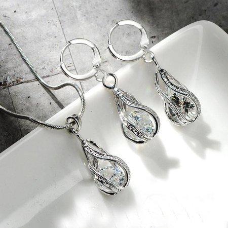 Elegante eenvoudige druppel oorbellen ketting sterling zilver Zirkonia