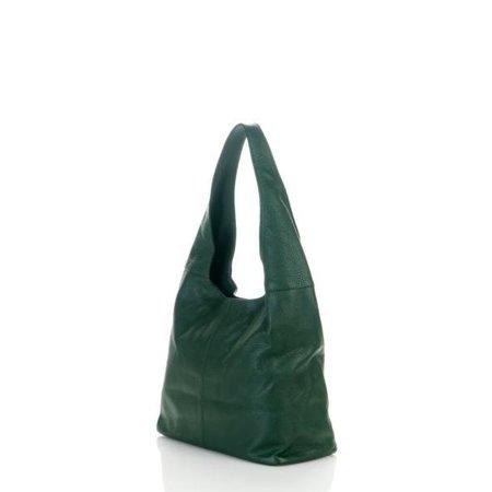 Mooie schoudertas van zachte leder in donker groene kleur