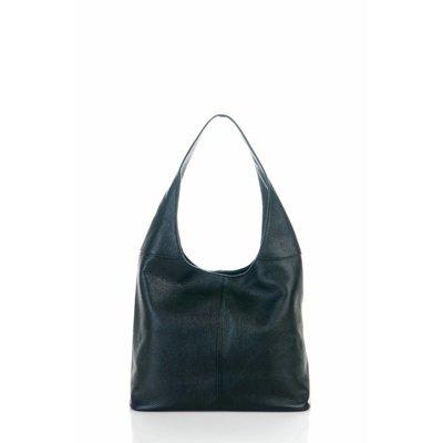 Mooie schoudertas van zachte leder zwarte kleur