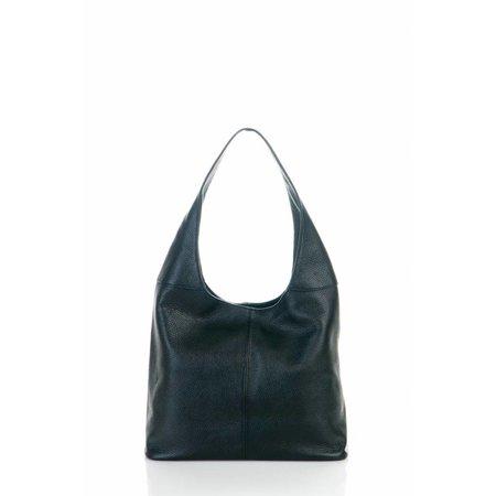 Mooie schoudertas brede schouderband van zachte leder in zwarte kleur