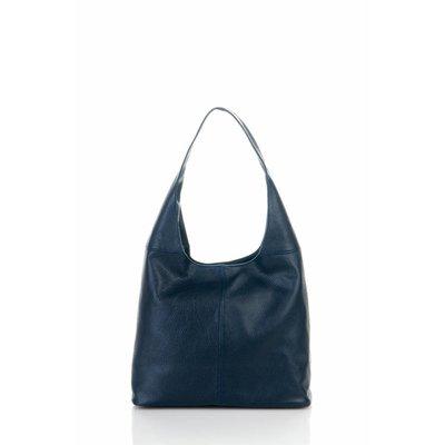 Mooie schoudertas van zachte leder donker blauw kleur