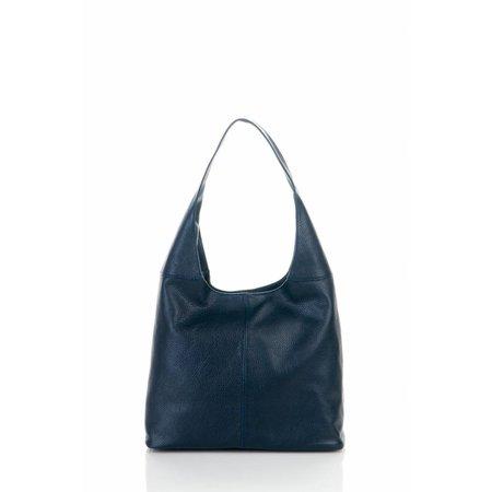 Mooie schoudertas handtas van zachte leder in donker blauwe kleur