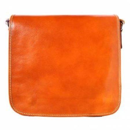 Postbode aktetas, kleine laptop tas in naturel leder kleur