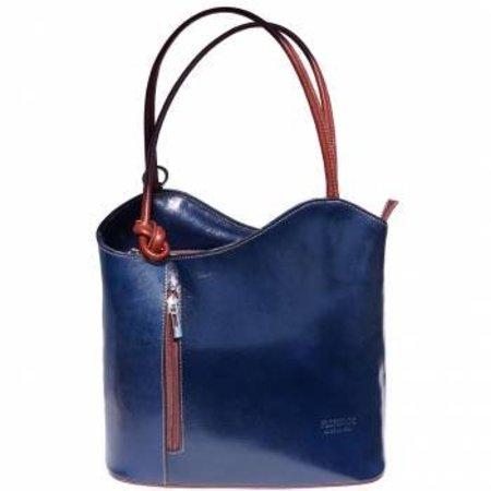 Schoudertas of rugzak mooie klassieke model donker blauw leer bruin kleur