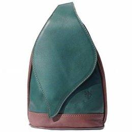 Grote Rugzak tas, met mooie blad vorm flap groen met bruin kleur