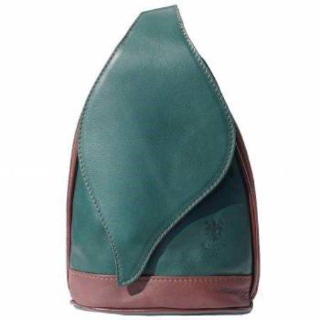 Leren Rugzak grote model met mooie blad vorm flap groen met bruin kleur