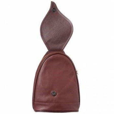 Leren Rugzak Klein model met mooie blad vorm flap in bruin kleur