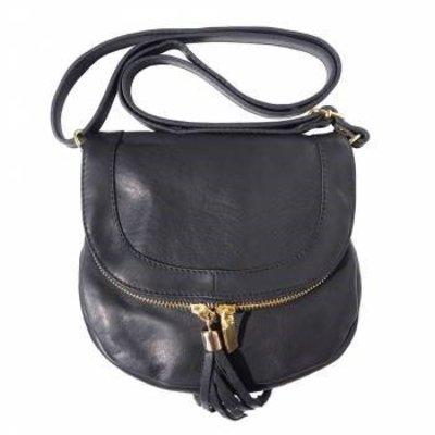 Zwarte zachte kalfsleer schoudertas met rits en magneetslot