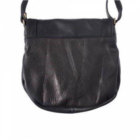 Zwarte zachte kalfsleer schoudertas met rits en magneetslot met gelukskwasten