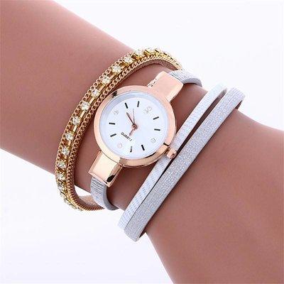 Metalen kleur ketting met koper kleuren en wit grijze armband polshorloge