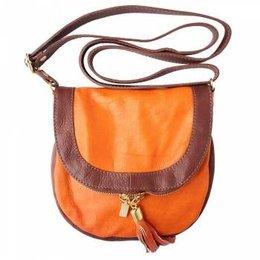 Oranje bruine zachte kalfsleer schoudertas met rits en magneetslot