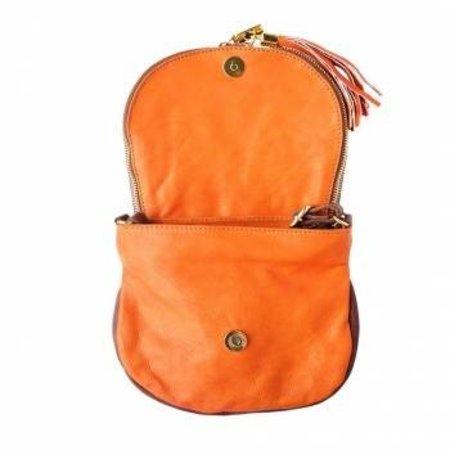 Oranje met bruine kleur zachte kalfsleer schoudertas met rits en magneetslot