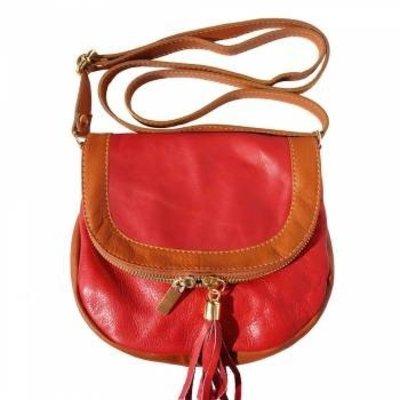 Rood kleur zachte kalfsleer schoudertas met rits en magneetslot