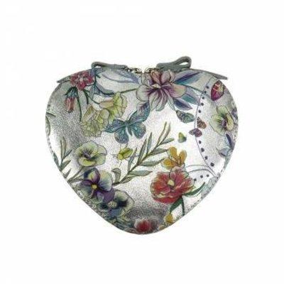 Cuore cross-body leren  tas zilver kleur met bloemen