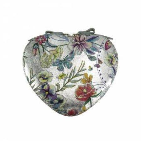 Cuore cross-body leren tasje in zilver kleur  met bloemenprint