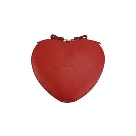 Cuore cross-body leren tasje in rood kleur hartje