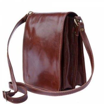 Handtas /schoudertas Postbode schoudertas aktetas in bruine kleur leder