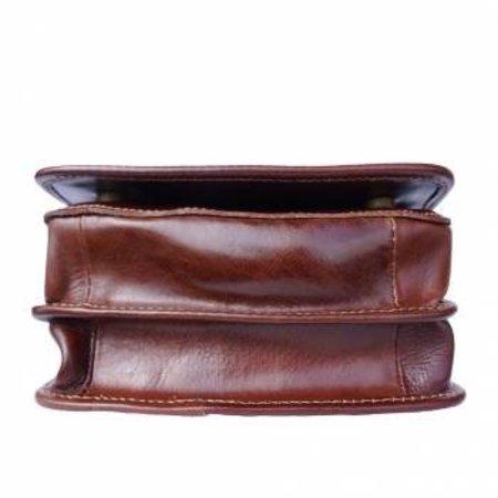 Handtas /schoudertas Postbode schoudertas aktetas bruine kleur kleine medium model
