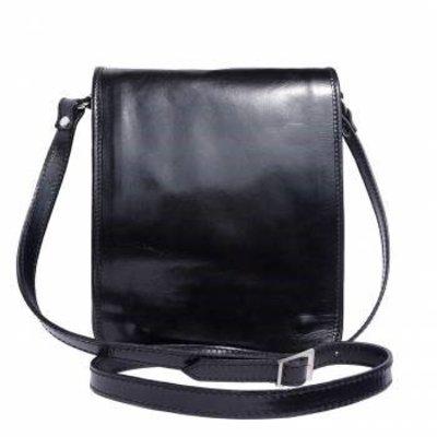 Handtas /schoudertas Postbode schoudertas aktetas in zwarte kleur leder