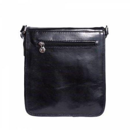 Handtas /schoudertas Postbode schoudertas aktetas zwarte kleur kleine medium model