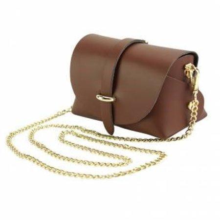 Elegante bruine kleur leder tas met afneembare kettingriem
