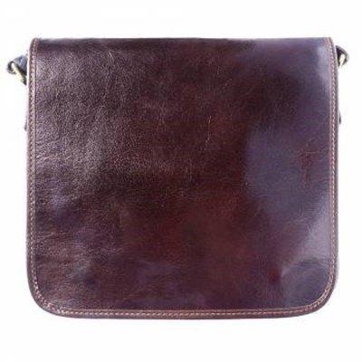 Postbode aktetas, kleine laptop tas in donker bruine kleur leder