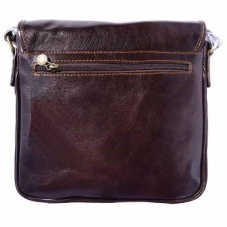 Leren Postbode aktetas, kleine laptop tas in donker bruine kleur