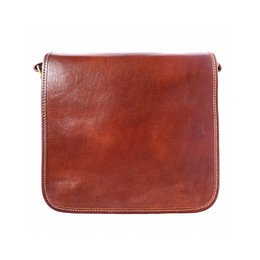 Postbode aktetas, kleine laptop tas in  bruine kleur leder