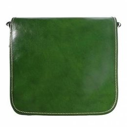 Postbode aktetas, kleine laptop tas in donker groene kleur leder