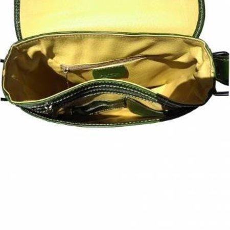 Leren Postbode aktetas, kleine laptop tas in donker groene kleur
