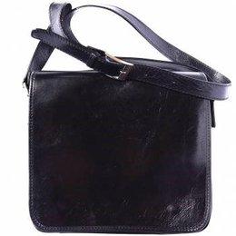 Postbode aktetas, kleine laptop tas in  zwart kleur leder