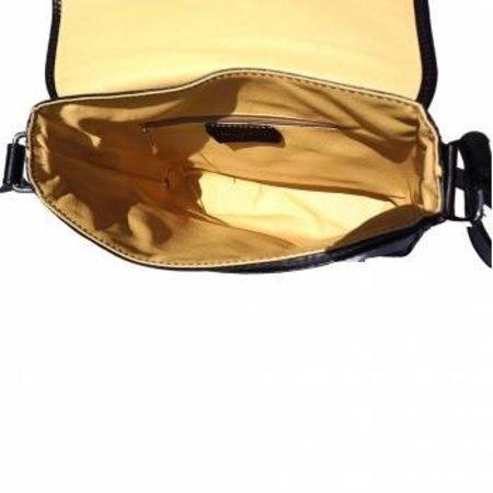 Leren Postbode aktetas, kleine laptop tas in  zwarte kleur