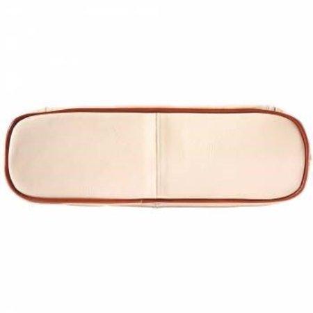 Handtas of schoudertas met dubbele schouderriem beige met bruine kleur