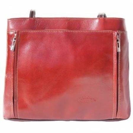 Handtas of schoudertas met dubbele schouderriem bruin met donker bruine kleur