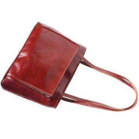 Handtas of schoudertas met dubbele schouderriem bruine kleur